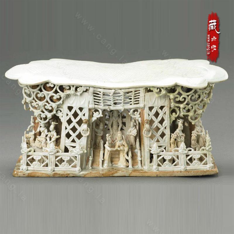 景德镇窑青白瓷戏剧舞台人物纹瓷枕
