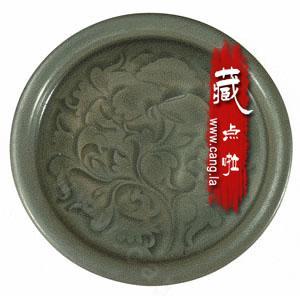 宋耀州窑青釉刻荷花纹盘